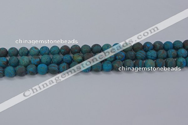 CAG9494 15.5 inches 8mm round matte blue crazy lace agate beads