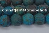 CAG9495 15.5 inches 10mm round matte blue crazy lace agate beads