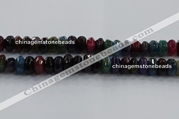 CAG9771 15.5 inches 8*16mm faceted rondelle agate gemstone beads