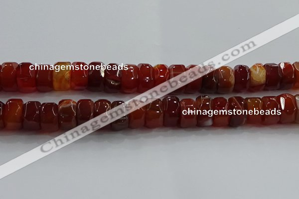 CAG9782 15.5 inches 8*16mm faceted rondelle agate gemstone beads