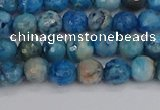 CAG9882 15.5 inches 4mm faceted round blue crazy lace agate beads