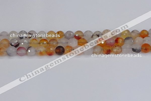 CAG9891 15.5 inches 8mm faceted round dendritic agate beads