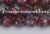 CAG9905 15.5 inches 8mm faceted round red lightning agate beads