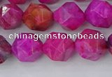 CAG9953 15.5 inches 10mm faceted nuggets fuchsia crazy lace agate beads