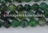 CAG9969 15.5 inches 6mm faceted nuggets moss agate beads