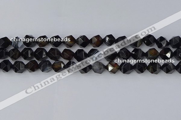 CAG9983 15.5 inches 10mm faceted nuggets black line agate beads