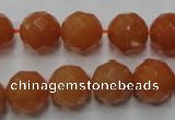 CAJ365 15.5 inches 14mm faceted round red aventurine beads wholesale