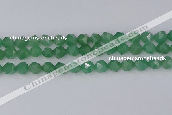 CAJ734 15.5 inches 12mm faceted nuggets green aventurine beads