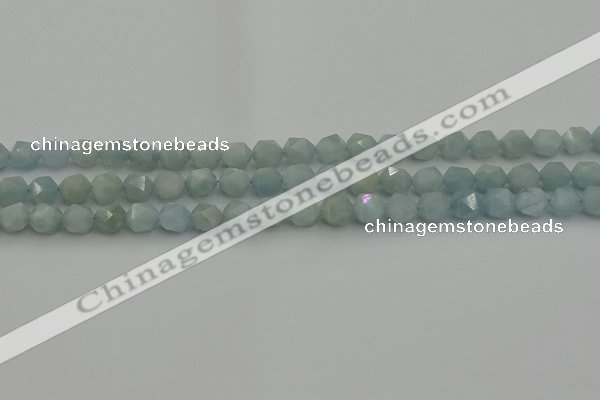 CAQ796 15.5 inches 6mm faceted nuggets aquamarine gemstone beads