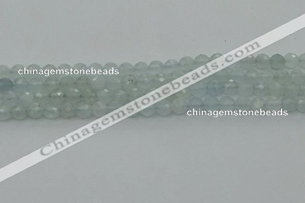 CAQ820 15.5 inches 6mm faceted round aquamarine beads wholesale