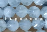CAQ922 15.5 inches 6mm faceted nuggets aquamarine gemstone beads