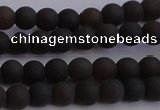 CAR208 15.5 inches 5mm - 6mm round matte natural amber beads