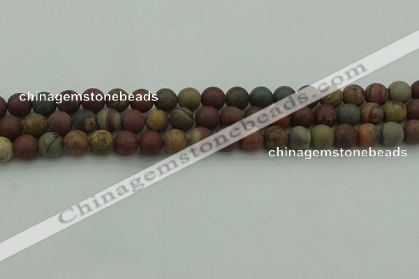 CAR361 15.5 inches 6mm round matte red artistic jasper beads