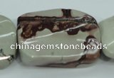 CAR48 15.5 inches 30*40mm twisted rectangle artistic jasper beads