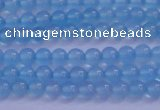 CBC260 15.5 inches 4mm AA grade round ocean blue chalcedony beads