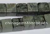 CBD218 15.5 inches 12*12mm cube green brecciated jasper beads