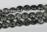CBD220 15.5 inches 8mm flat round green brecciated jasper beads