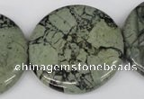 CBD223 15.5 inches 35mm flat round green brecciated jasper beads