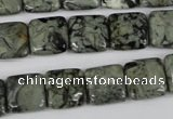 CBD233 15.5 inches 12*12mm square green brecciated jasper beads