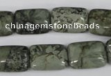CBD239 15.5 inches 13*18mm rectangle green brecciated jasper beads