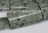 CBD242 15.5 inches 20*40mm flat tube green brecciated jasper beads