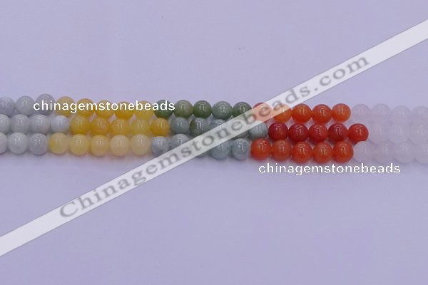 CBJ662 15.5 inches 8mm round mixed jade beads wholesale