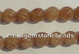 CBQ15 15.5 inches 10mm carved round strawberry quartz beads wholesale