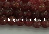 CBQ331 15.5 inches 6mm faceted round strawberry quartz beads