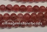 CBQ352 15.5 inches 8mm round natural strawberry quartz beads