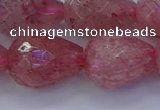 CBQ456 15.5 inches 15*20mm faceted teardrop strawberry quartz beads