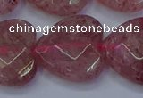 CBQ473 15.5 inches 20mm faceted heart strawberry quartz beads