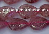 CBQ478 15.5 inches 13*18mm faceted flat teardrop strawberry quartz beads