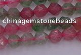 CBQ681 15.5 inches 6mm faceted nuggets mixed strawberry quartz beads