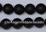 CBS06 15.5 inches 14mm round black stone beads wholesale