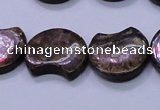 CBZ111 15.5 inches 15*18mm curved moon bronzite gemstone beads