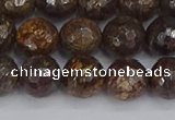 CBZ613 15.5 inches 10mm faceted round bronzite gemstone beads