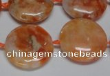CCA476 15.5 inches 20mm flat round orange calcite gemstone beads
