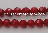 CCB121 15.5 inches 5mm faceted round red coral beads wholesale
