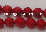 CCB122 15.5 inches 6mm faceted round red coral beads wholesale