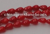 CCB139 15.5 inches 4*6mm teardrop red coral beads wholesale
