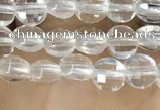 CCB530 15.5 inches 4mm faceted coin white crystal beads