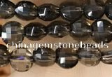 CCB534 15.5 inches 4mm faceted coin smoky quartz beads