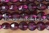 CCB537 15.5 inches 4mm faceted coin purple garnet beads wholesale
