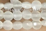 CCB542 15.5 inches 4mm faceted coin white moonstone beads