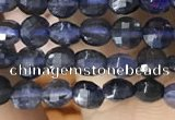 CCB546 15.5 inches 4mm faceted coin iolite gemstone beads