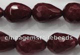 CCN1677 15.5 inches 13*18mm faceted teardrop candy jade beads wholesale