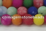CCN2555 15.5 inches 12mm round mixed color matte candy jade beads