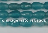 CCN3785 15.5 inches 8*12mm faceted teardrop candy jade beads