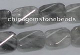 CCQ181 15.5 inches 13*19mm twisted rectangle cloudy quartz beads