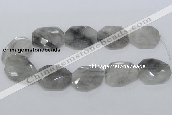 CCQ230 15.5 inches 30*40mm faceted freeform cloudy quartz beads